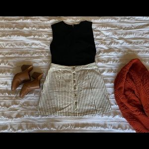 CJLA Striped Button Up Mini Skirt